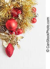 Traditional chistmas tree decorations isolated on a white...
