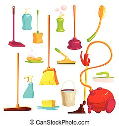 Cleaning Elements Set - Isolated cartoon style set with...