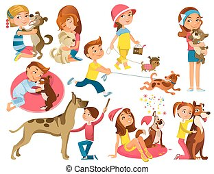 Children With Pets Set - Isolated cartoon kids and animals...