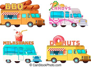 Food Trucks Set - Four isolated cartoon colorful food trucks...