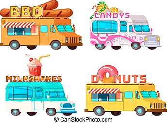 Food Trucks Set - Four isolated cartoon colorful food trucks...