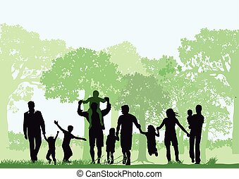 Familie im Wald.eps - Families with children in the forest