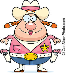 Cowgirl Smiling - A happy cartoon cowgirl standing and...
