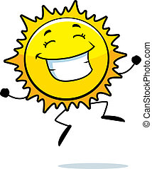 Sun Smiling - A happy cartoon sun jumping and smiling
