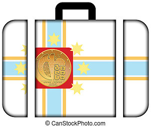 Flag of Tbilisi, Georgia. Suitcase icon, travel and...