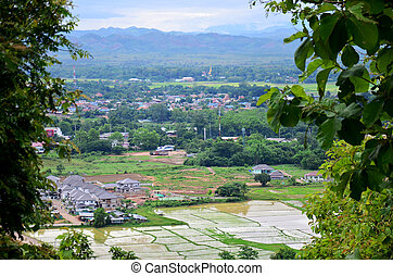 Aerial view landscape of Nan city from Wat Phra That Khao...
