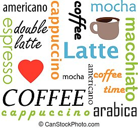 Coffee types names - Types of coffee hot drinks conceptual...