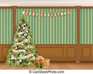 christmas tree in cabinet with wooden panels - Decorated...
