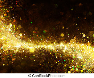 Shiny Golden Trail On Black - Glittering Dust