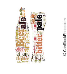 Beer word cloud in the shape of bottle and glass