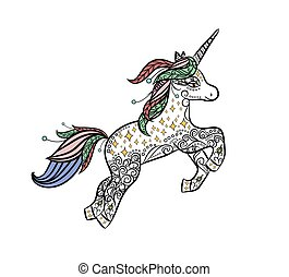 Mythical Unicorn in a magical animal doodle style vector....