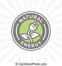 Natural electricity energy icon symbol with electric plug,...