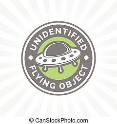 UFO icon. Unidentified flying object badge. Flying saucer...