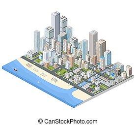 metropolis isometric - Isometric city. Skyscrapers, houses...