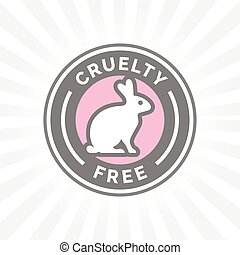 Animal cruelty free icon design with rabbit vector badge...