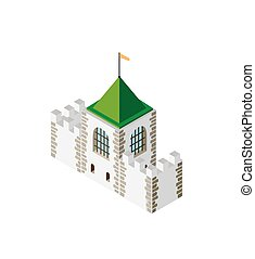 Fortress protection guard isometric projection of building...