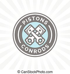 Pistons and conrods icon. Motorcar parts sign. Vehicle...