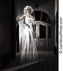 Female Ghost - Female ghost floating in an abandoned insane...