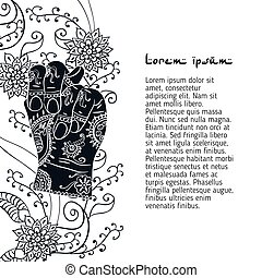 Element yoga Apan Vayu mudra hands with mehendi patterns....