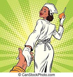 mí, seguir, Enfermera,  enema