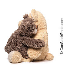 Two Teddy bears hugging. - Two Teddy bears hugging isolated...