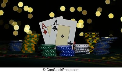 Good card combination, one pair of aces, poker game on...