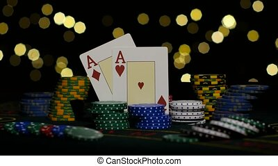 Good card combination, two aces, chance to win. Close up -...