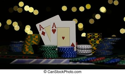 Two red aces, chance to win. Poker. Close up - Combination...