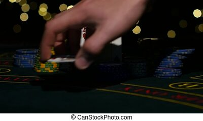 Combination of poker. Poker player's hand opeh his poker...