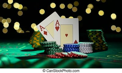 Pair of aces. Poker. Close up - Combination of poker. Pair...