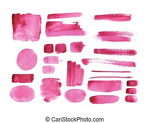 Handmade watercolor texture collection of pink paint....