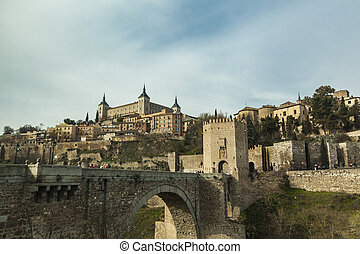 Toledo - Alcazar fortress with a bridge in Toledo