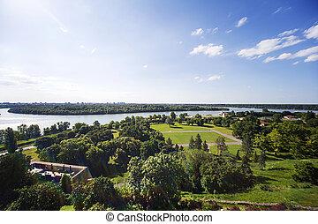 Belgrade - Panoramic view of the park at Kalemegdan in...