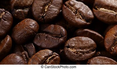 Coffee beans. Close up. Rotating - Coffee beans in rotate...