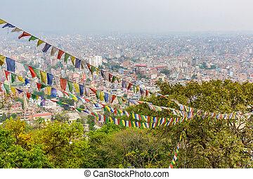 Cityscape of Kathmandu - Panorama view of Kathmandu city in...