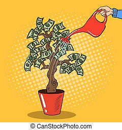 Pop Art Woman Hand with Can Watering Money Tree. Vector illustra