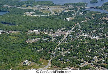 Parry Sound aerial - aerial view of an urban landscape on...
