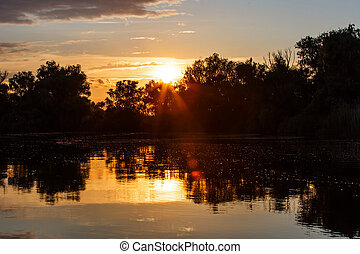 Sunset in Danube Delta - Landscape photo of a beautiful...
