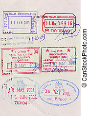 travel visa stamps on passport - stamps of entry and exit of...