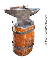 Anvil on a brown pedestal with a hammer isolated over white...