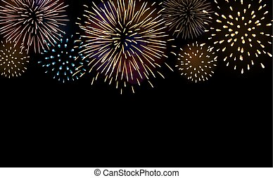 Firework bursting sparkle background set. Colorful night...