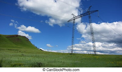 Electricity pylon - Time-lapse blue sky electricity pylon...