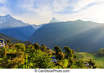Amazing early morning view to the Annapurna range