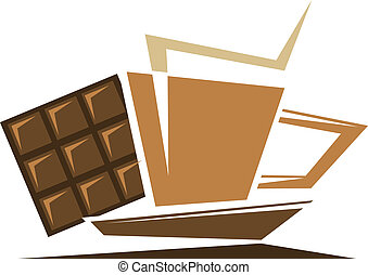 Tea or coffee symbol with chocolate