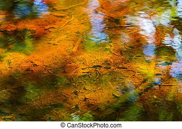 Beautiful colorful abstract water reflection - Close up...