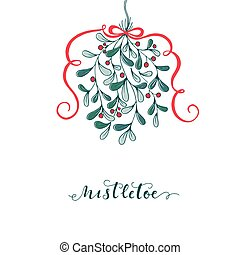 Mistletoe - Hand drawn mistletoe. Vector Christmas plant...