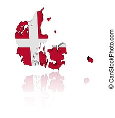 Denmark map flag reflected - Denmark map flag 3d render with...