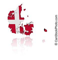 Denmark map flag reflected - Denmark map flag 3d render with...