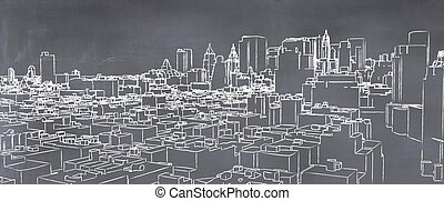 målad, stad,  Illustration,  Blackboard