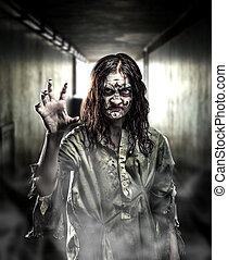 Horror zombie in a dark corridor. Halloween.